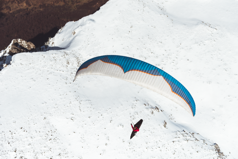 Shot of a paraglider above the Dry mountain, Serbia.